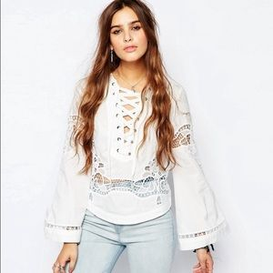 Free People Bittersweet Lace Up Top White XS/S NWT